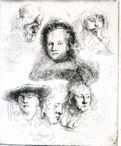 Studies of the Head of Saskia and others -min
